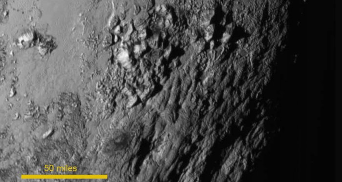 Pluto ice mountains